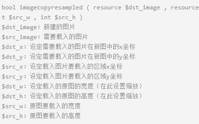 PHP中imagecopyresampled参数详解